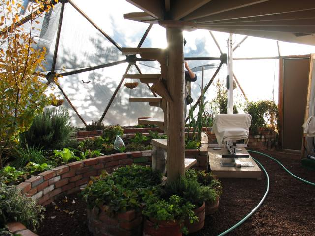 upper deck in Growing Dome Greenhouse