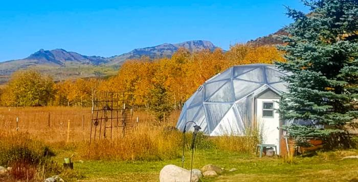 33 foot Growing Dome Greenhouse in the Fall in Steamboat Springs Colorado