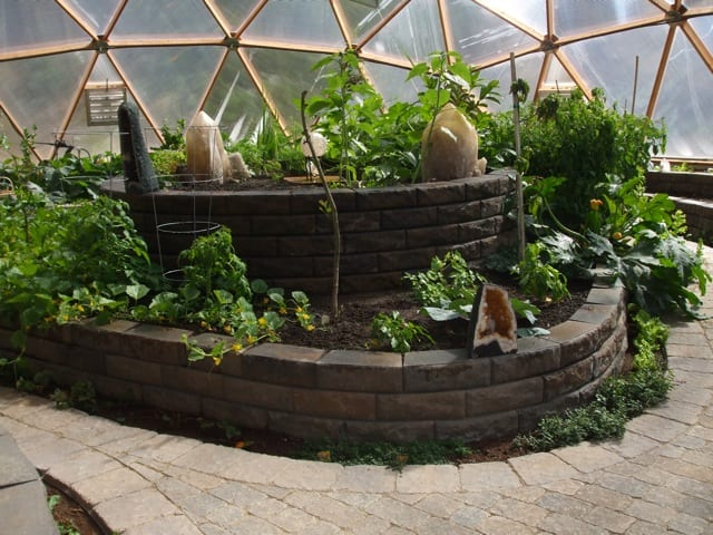 multi-level planting beds in Growing Dome Greenhouse