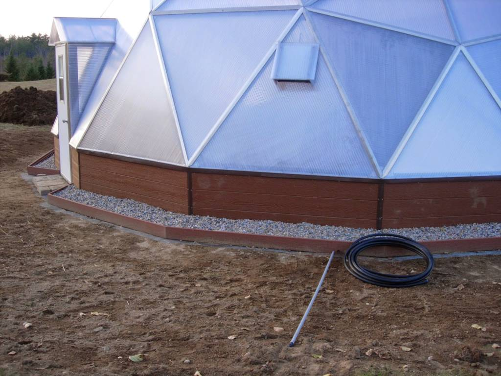 Exterior beds to plant flowers around Growing Dome Greenhouse