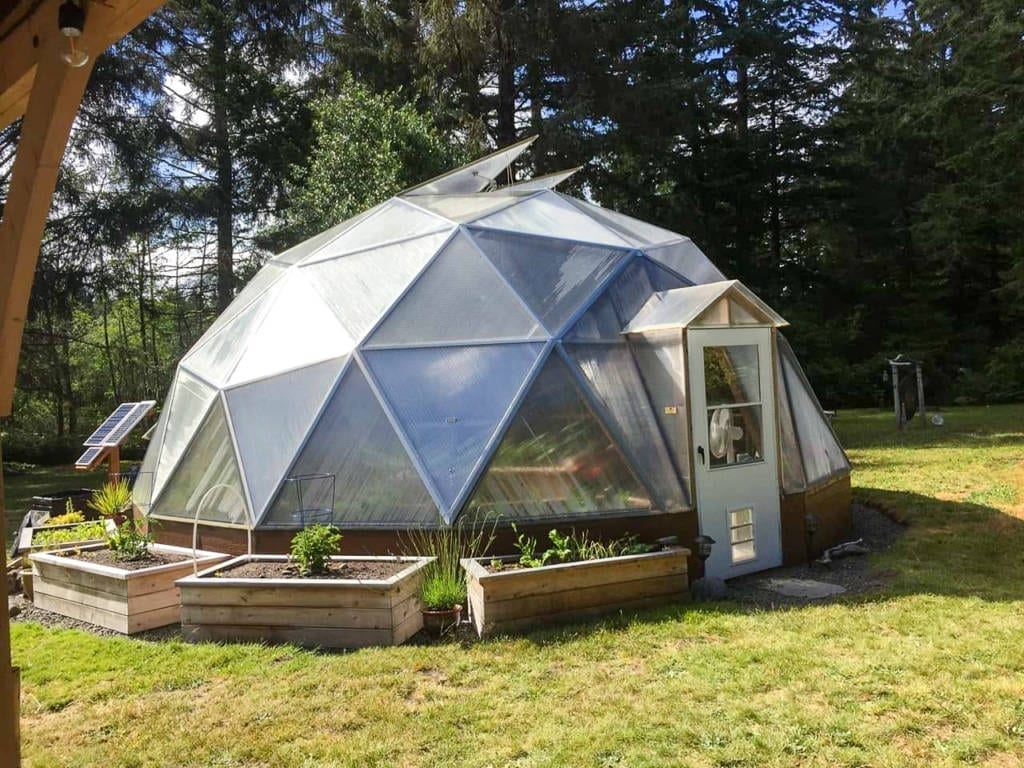 outdoor planting beds for geodesic greenhouse