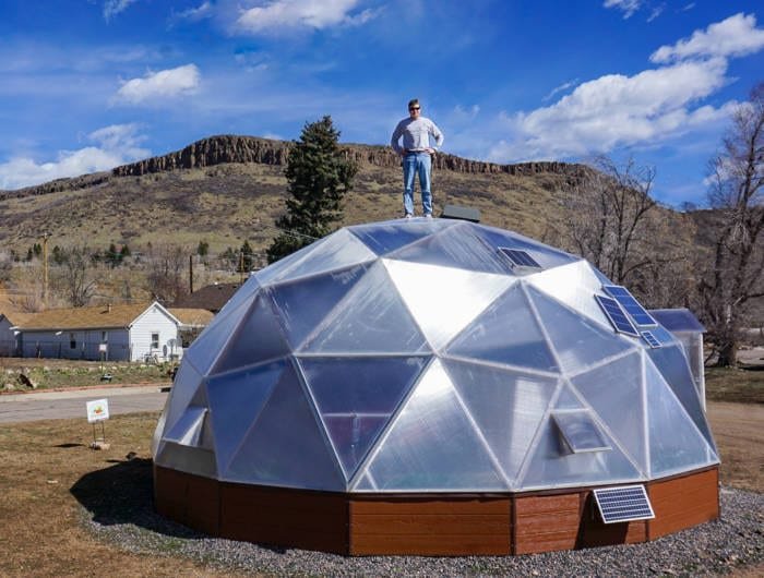 Lem Tingley at GoFarm 26-foot Geodesic Dome Greenhouse in Golden, Colorado