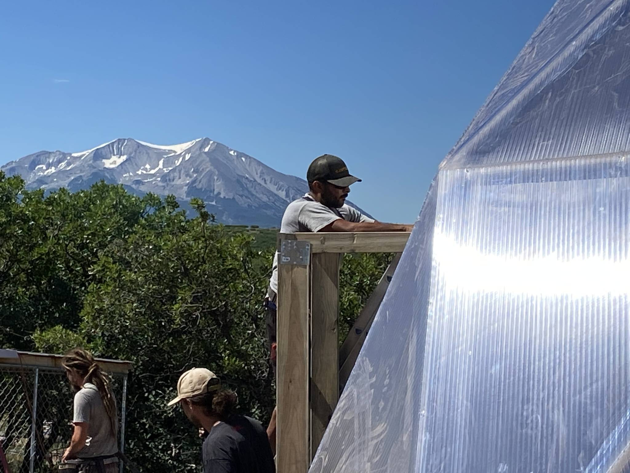 New 33' Growing Dome being built in Carbondale, with view of Mt. Sopris