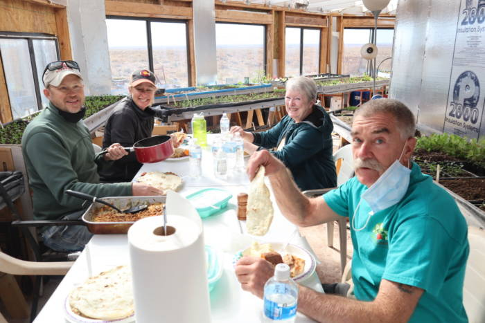 Lunch in a greenhouse on Navajo Nation with Tyrone Thompson
