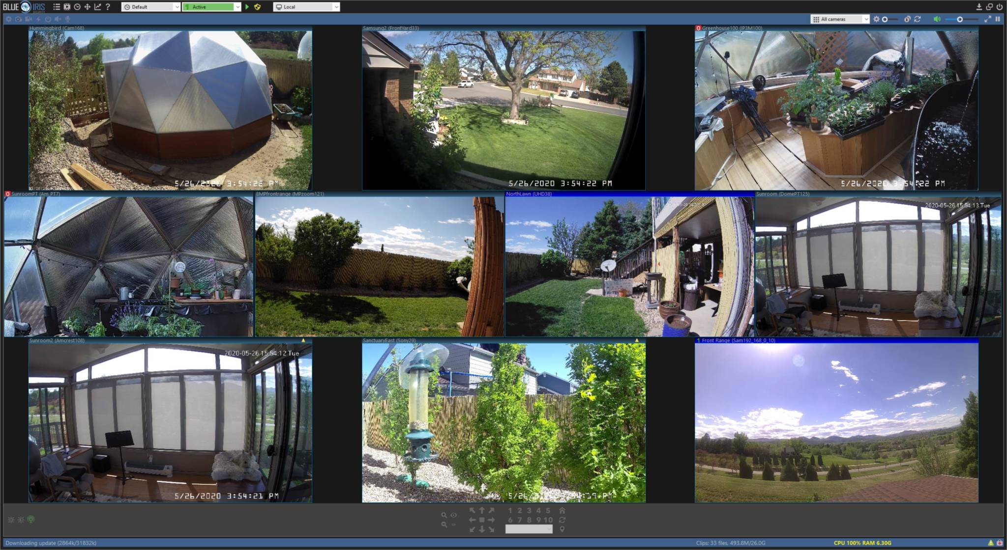 web cam screen shots of automated greenhouse