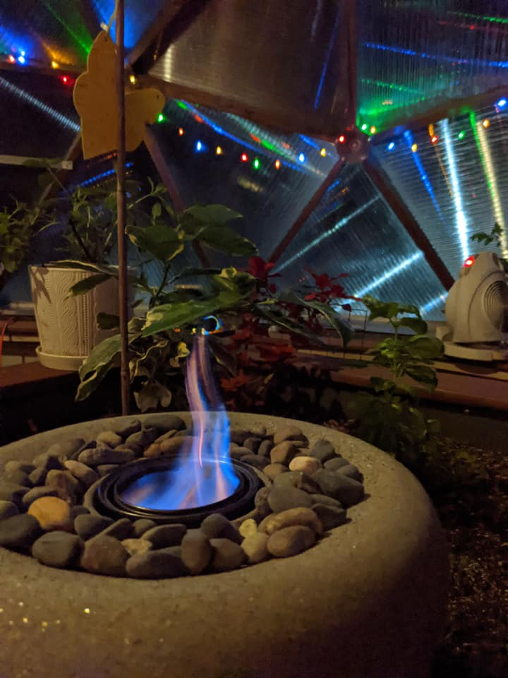 Beautiful Greenhouse with lights and fireplace