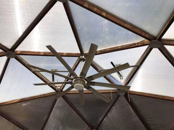 ceiling fan for greenhouse ventilation