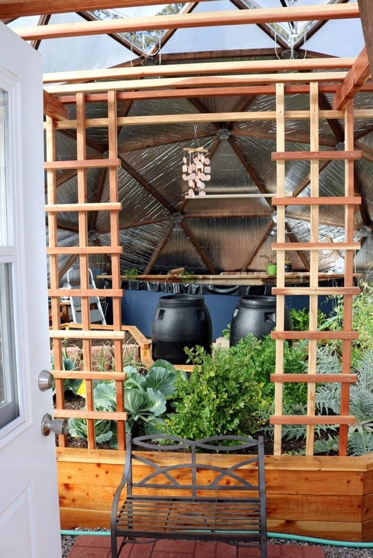 custom redwood trellis in a Growing Dome Greenhouse